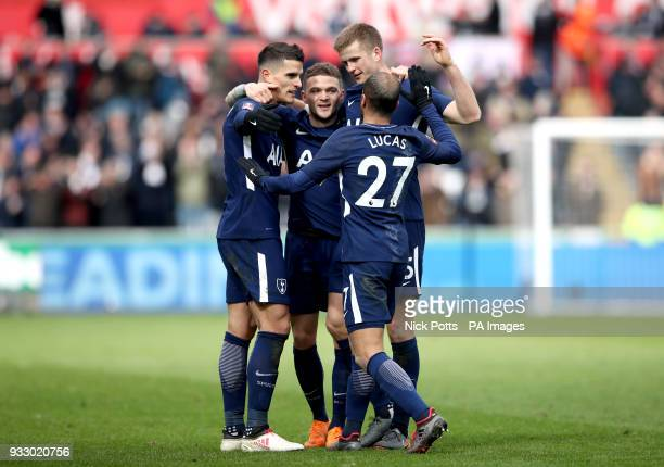 Tottenham Hotspur's Erik Lamela celebrates scoring his side's second goal of the game with his teammates during the Emirates FA Cup quarter final...
