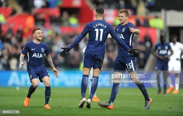 SWANSEA WALES MARCH CELE Tottenham Hotspur's Erik Lamela celebrates scoring his side's second goal during the Emirates FA Cup QuarterFinal between...
