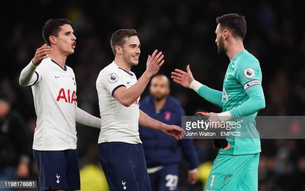 Tottenham Hotspur's Erik Lamela , Harry Winks an Hugo Lloris during the Premier League match at the Tottenham Hotspur Stadium, London. Tottenham...