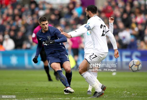 Tottenham Hotspur's Erik Lamela scores his side's second goal of the game during the Emirates FA Cup quarter final match at the Liberty Stadium...