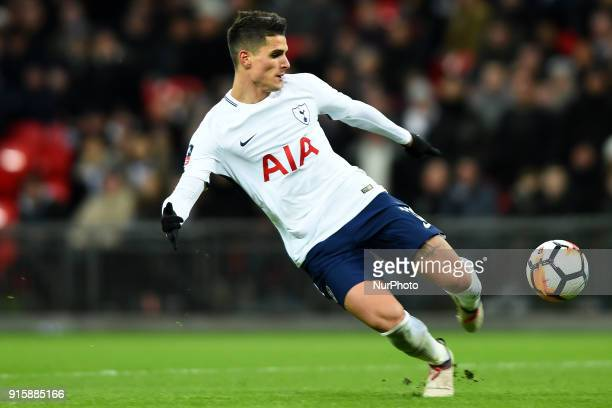 Tottenham Hotspur's Erik Lamela takes a shot at goal during the FA Cup Fourth Round replay match between Tottenham Hotspur and Newport County at...