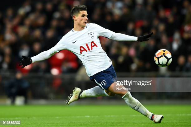 Tottenham Hotspur's Erik Lamela takes a shot during the FA Cup Fourth Round replay match between Tottenham Hotspur and Newport County at Wembley...