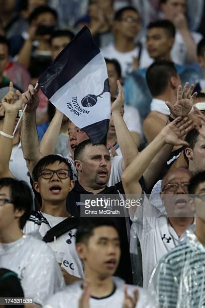 Tottenham Hotspurs fan cheers during the Barclays Asia Trophy Semi Final match between Tottenham Hotspur and Sunderland at Hong Kong Stadium on July...