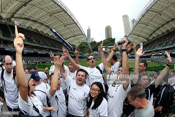 Tottenham Hotspurs fans sing and chant ahead of the start of the Third Place PlayOff match between Tottenham Hotspurs and South China at Hong Kong...