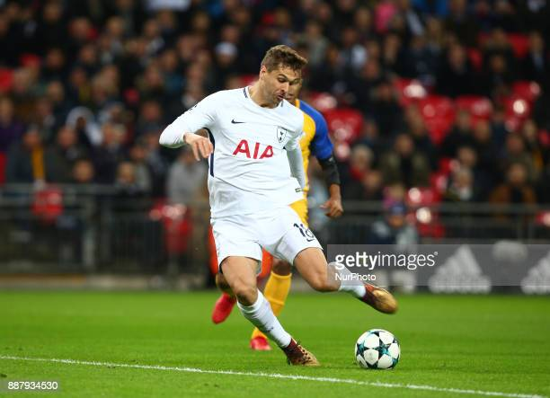 Tottenham Hotspur's Fernando Llorente scores his sides first goal during the Champions League Group G match between Tottenham Hotspur and Apoel...