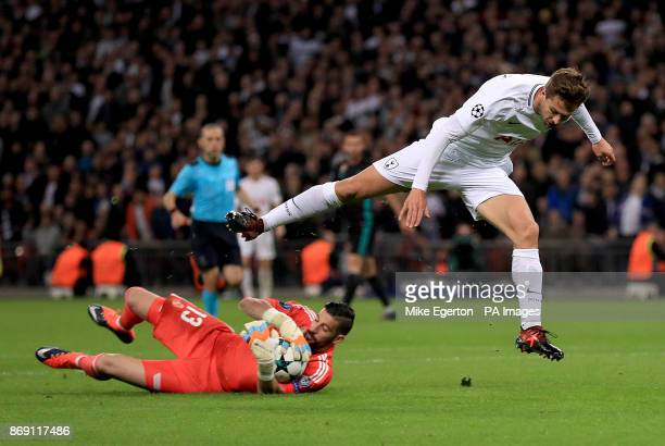 Tottenham Hotspur's Fernando Llorente tumbles over Real Madrid goalkeeper Kiko Casilla during the UEFA Champions League Group H match at Wembley...
