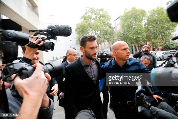 Tottenham Hotspur's French goalkeeper Hugo Lloris arrives at Westminster Magistrates Court in central London on September 12, 2018. - France's World...