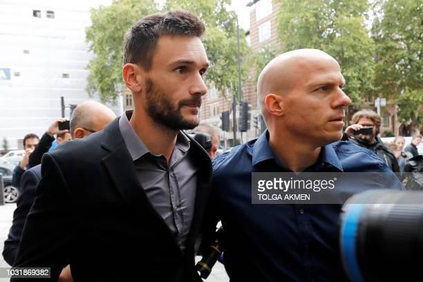 Tottenham Hotspur's French goalkeeper Hugo Lloris arrives at Westminster Magistrates Court in central London on September 12 2018 France's World...