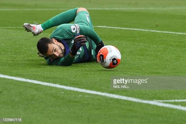 Tottenham Hotspur's French goalkeeper Hugo Lloris makes a save during the English Premier League football match between Bournemouth and Tottenham...