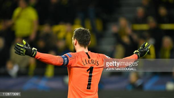 Tottenham Hotspur's French goalkeeper Hugo Lloris reacts during the UEFA Champions League round of 16 second leg football match between BVB Borussia...