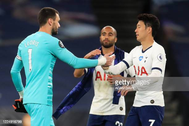 Tottenham Hotspur's French goalkeeper Hugo Lloris Tottenham Hotspur's Brazilian midfielder Lucas Moura and Tottenham Hotspur's South Korean striker...