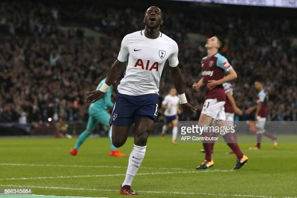 Tottenham Hotspur's French midfielder Moussa Sissoko celebrates scoring his team's first goal during the English League Cup fourth round football...