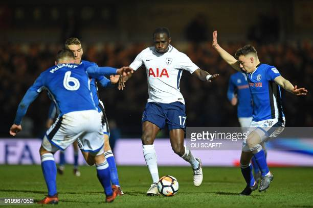 Tottenham Hotspur's French midfielder Moussa Sissoko is surrounded by Rochdale players during the English FA Cup fifth round football match between...