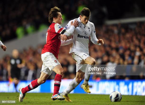 Tottenham Hotspur's Gareth Bale and Arsenal's Tomas Rosicky battle for the ball