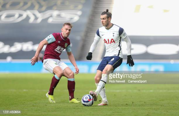 Tottenham Hotspur's Gareth Bale and Burnley's Charlie Taylor during the Premier League match between Tottenham Hotspur and Burnley at Tottenham...