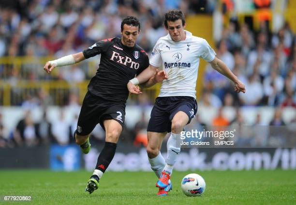 Tottenham Hotspur's Gareth Bale and Fulham's Stephen Kelly battle for the ball
