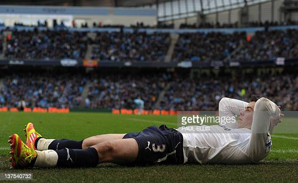 Tottenham Hotspur's Gareth Bale reacts to missing a goal during their English Premier League football match against Manchester City' at The Etihad...