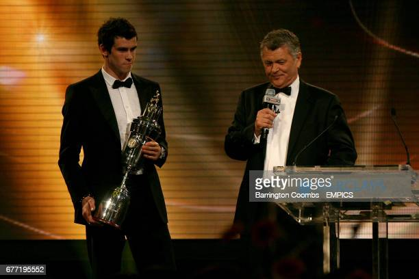 Tottenham Hotspur's Gareth Bale with the PFA Player of the Year trophy and Sky Sports Presenter George Gavin