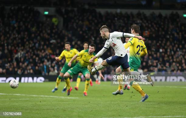 Tottenham Hotspur's Giovani Lo Celso with a shot towards goal during the FA Cup Fifth Round match between Tottenham Hotspur and Norwich City at...