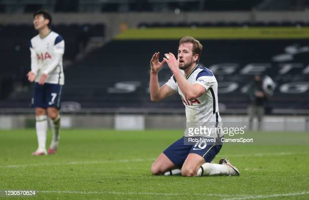 Tottenham Hotspur's Harry Kane after missing a first half chance during the Premier League match between Tottenham Hotspur and Fulham at Tottenham...