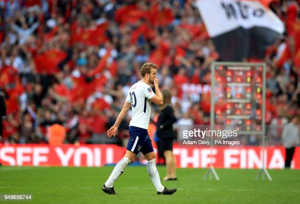Tottenham Hotspur's Harry Kane appears dejected after the Emirates FA Cup semifinal match at Wembley Stadium London