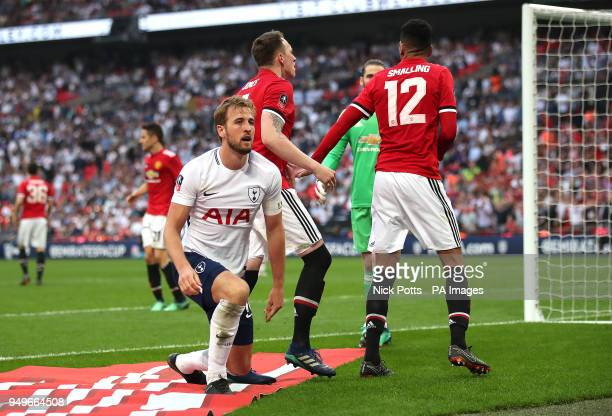 Tottenham Hotspur's Harry Kane appears dejected during the Emirates FA Cup semifinal match at Wembley Stadium London