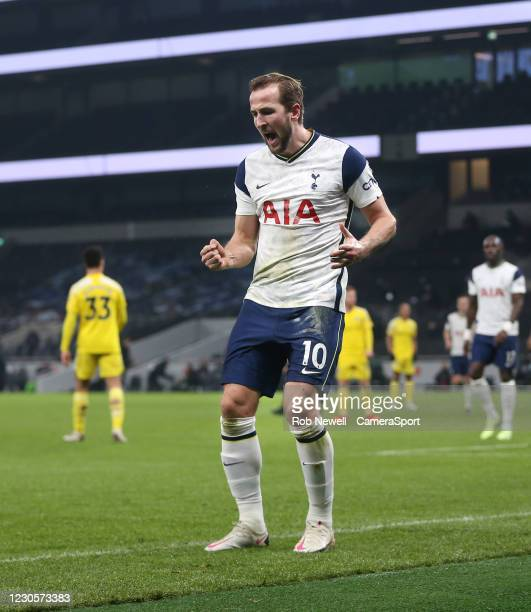 Tottenham Hotspur's Harry Kane celebrates scoring his side's first goal during the Premier League match between Tottenham Hotspur and Fulham at...