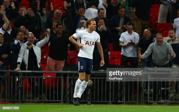 Tottenham Hotspur's Harry Kane celebrates scoring his sides first goal during the English Premier League match between Tottenham Hotspur and...