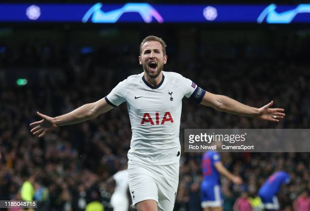 Tottenham Hotspur's Harry Kane celebrates scoring his side's fourth goal during the UEFA Champions League group B match between Tottenham Hotspur and...