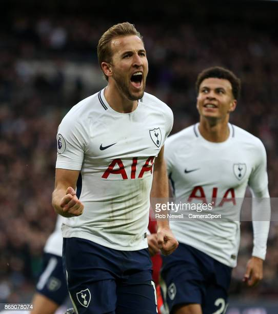 Tottenham Hotspur's Harry Kane celebrates scoring his side's fourth goal during the Premier League match between Tottenham Hotspur and Liverpool at...