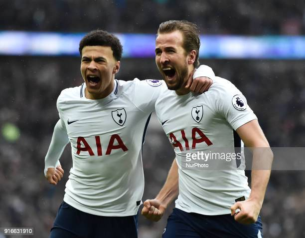 Tottenham Hotspur's Harry Kane celebrates scoring the opening goal during the Premier League match between Tottenham Hotspur and Arsenal at Wembley...