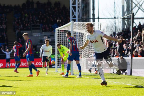 Tottenham Hotspur's Harry Kane celebrates scoring the opening goal during the Premier League match between Crystal Palace and Tottenham Hotspur at...