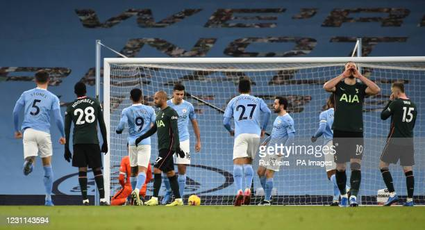 Tottenham Hotspur's Harry Kane dejected after Manchester City's Rodri scores their first goal of the game during the Premier League match at the...