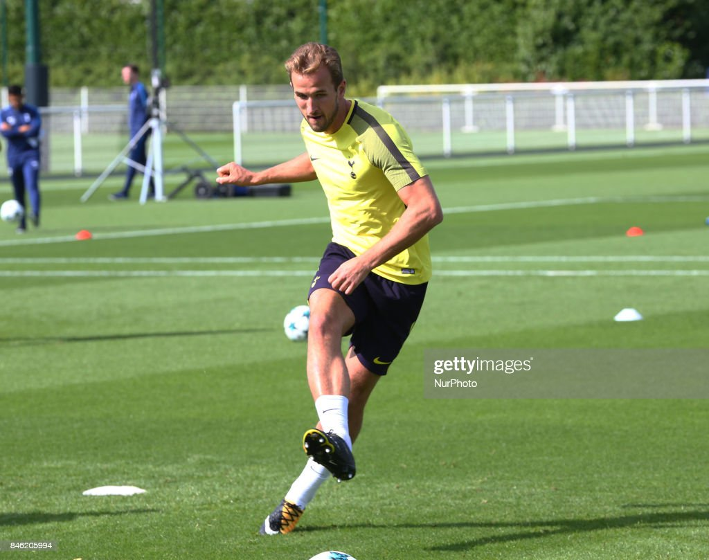 Tottenham Hotspur's Harry Kane during a Tottenham Hotspur training session ahead of the UEFA Champions League Group H match against Borussia Dortmund at Tottenham Hotspur Training centre on 12 Sept , 2017 in Enfield, England.