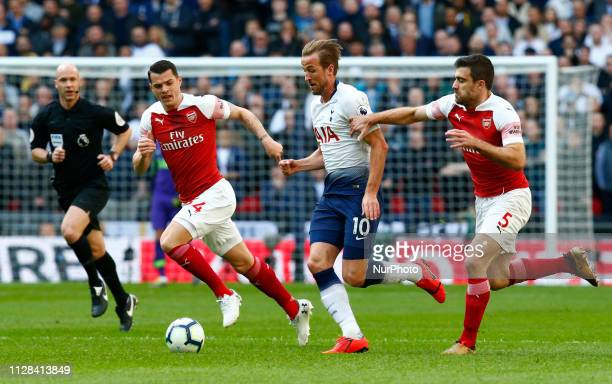 Tottenham Hotspur's Harry Kane during during English Premier League between Tottenham Hotspur and Arsenal at Wembley stadium London England on 02 Mar...