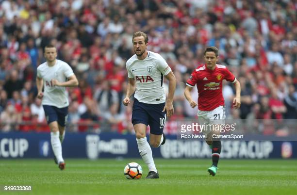 Tottenham Hotspur's Harry Kane during the Emirates FA Cup Semi Final match between Manchester United and Tottenham Hotspur at Wembley Stadium on...