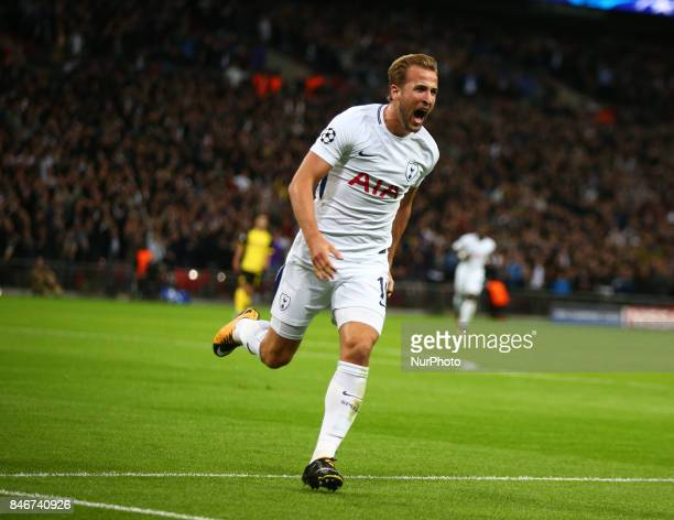Tottenham Hotspur's Harry Kane ecelebrates goal during Champion League Group H match between Tottenham Hotspur against Borussia Dortmund at Wembley...