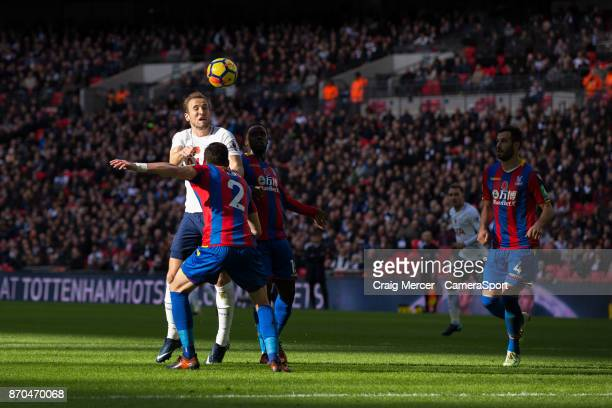 Tottenham Hotspur's Harry Kane gets a header on goal during the Premier League match between Tottenham Hotspur and Crystal Palace at Wembley Stadium...