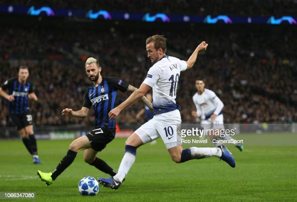 Tottenham Hotspur's Harry Kane gets in a first half shot during the Group B match of the UEFA Champions League between Tottenham Hotspur and FC...