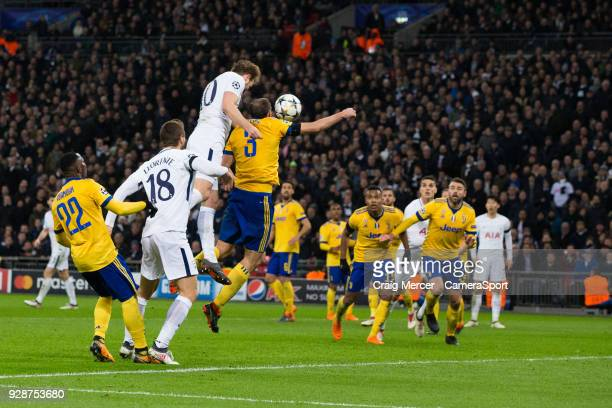 Tottenham Hotspur's Harry Kane has a header on goal during the UEFA Champions League Round of 16 Second Leg match between Tottenham Hotspur and...