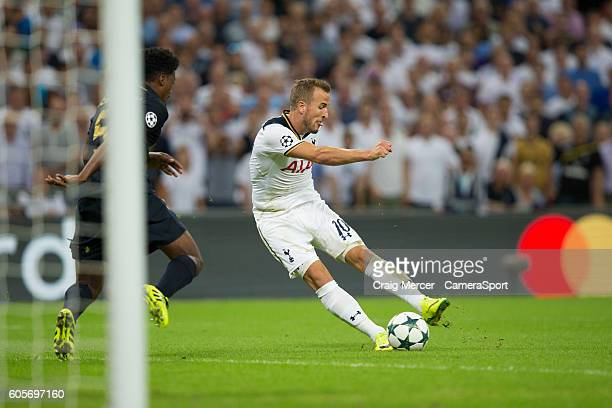 Tottenham Hotspur's Harry Kane has a shot at goal during the UEFA Champions League match between Tottenham Hotspur FC and AS Monaco FC at Wembley...