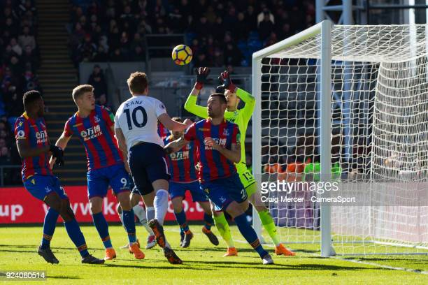 Tottenham Hotspur's Harry Kane scores the opening goal during the Premier League match between Crystal Palace and Tottenham Hotspur at Selhurst Park...