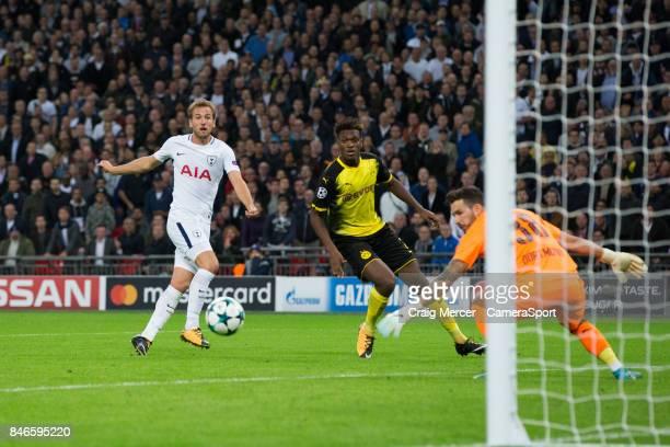 Tottenham Hotspur's Harry Kane shoots at goal during the UEFA Champions League group H match between Tottenham Hotspur and Borussia Dortmund at...