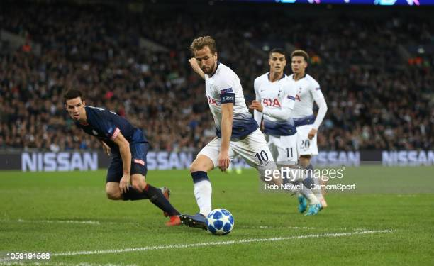 Tottenham Hotspur's Harry Kane with a second half shot during the Group B match of the UEFA Champions League between Tottenham Hotspur and PSV at...