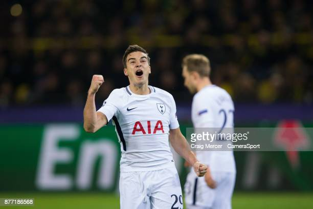 Tottenham Hotspur's Harry Winks celebrates his side's second goal during the UEFA Champions League group H match between Borussia Dortmund and...
