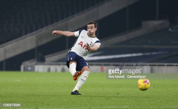 Tottenham Hotspur's Harry Winks with a first half shot during the Premier League match between Tottenham Hotspur and Fulham at Tottenham Hotspur...