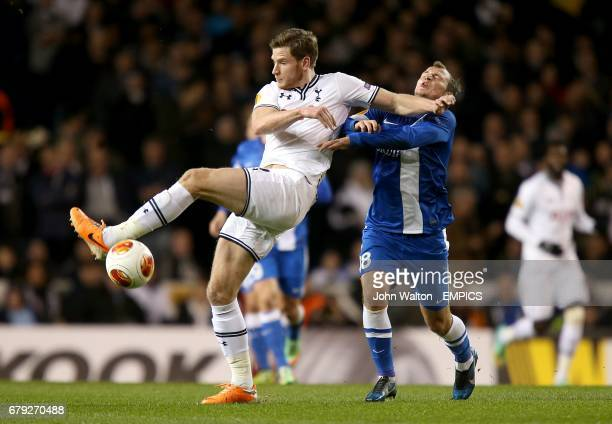 Tottenham Hotspur's Jan Vertonghen and Dnipro Dnipropetrovsk's Roman Zozulya battle for the ball