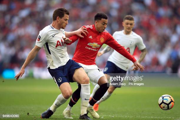 Tottenham Hotspur's Jan Vertonghen and Manchester United's Jesse Lingard battle for the ball during the Emirates FA Cup semifinal match at Wembley...