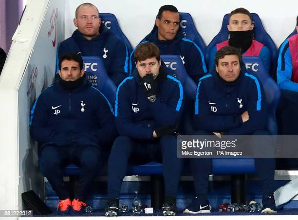Tottenham Hotspur's Jesus Perez manager Mauricio Pochettino and Miguel D'agostino on the bench during the Premier League match at the King Power...