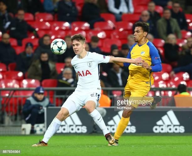 Tottenham Hotspur's Juan Foyth left during the Champions League Group G match between Tottenham Hotspur and Apoel Nicosia at Wembley stadium London...